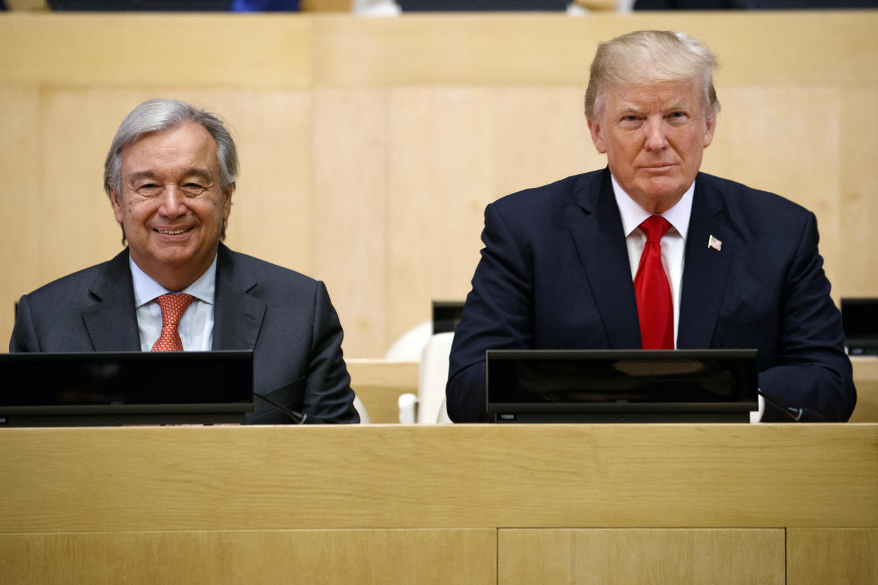 "<p>President Donald Trump sits with UN Secretary General Antonio Guterres for a photo before the ""Reforming the United Nations: Management, Security, and Development"" meeting during the United Nations General Assembly, Monday, Sept. 18, 2017, in New York. (Photo: Evan Vucci/AP) </p>"