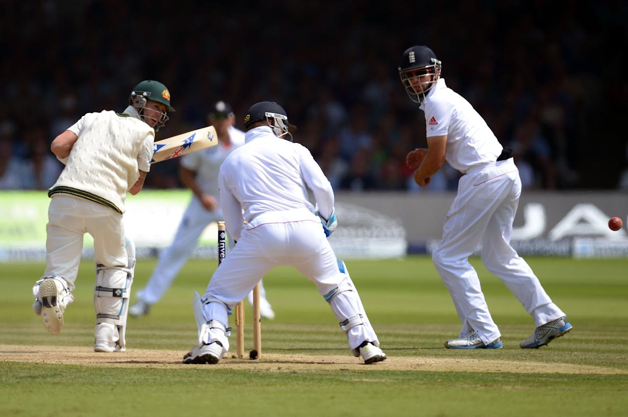 Australia's Michael Clarke flicks the ball past England's Matt Prior on day four of the Second Investec Ashes Test at Lord's Cricket Ground, London.