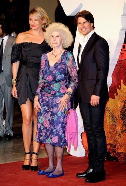 SEVILLE, SPAIN - JUNE 16: (L-R) Cameron Diaz, Cayetana Fitz-James Stuart, Duchess of Alba and Tom Cruise attend 'Knight and Day' premiere at the Lope de Vega Theater in Seville, Spain. (Photo by Carlos Alvarez/Getty Images)