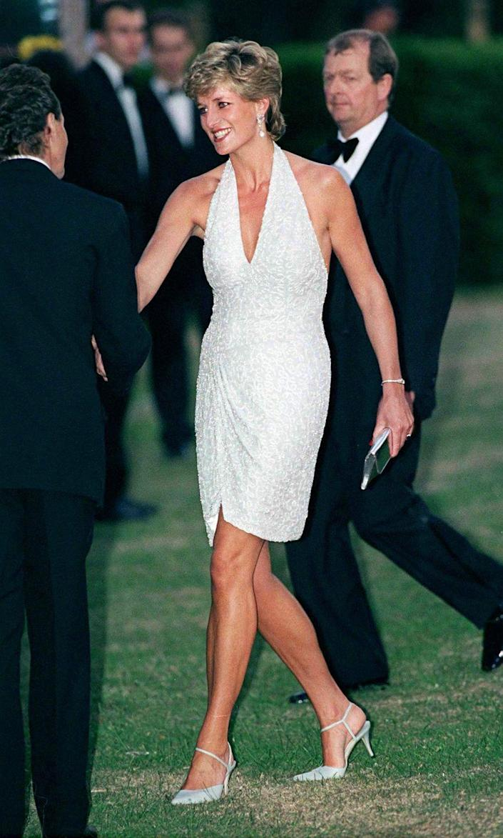 <p>Another post-separation look of Diana's was this Catherine Walker dress she wore to the Serpentine Gallery Gala in 1995. The daring dress—a combination of a short hem, deep v-neckline, and halter top—was certainly not palace-approved. </p>