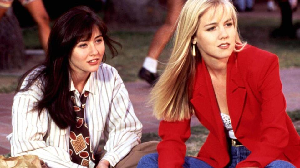"<p>Brenda and Kelly played BFFs on <em>Beverly Hills, 90210</em>, but the actresses who played them were not so close offscreen. <a href=""http://www.eonline.com/shows/e_news/news/520606/jennie-garth-on-shannen-doherty-feud-there-were-times-when-we-wanted-to-claw-each-other-s-eyes-out"" rel=""nofollow noopener"" target=""_blank"" data-ylk=""slk:Garth reveals"" class=""link rapid-noclick-resp"">Garth reveals</a> there were times during filming when they wanted to ""claw each other's eyes out."" However, despite the rumored tension, the two were later able to come together and appear in the <em>90210</em> spinoff.</p>"