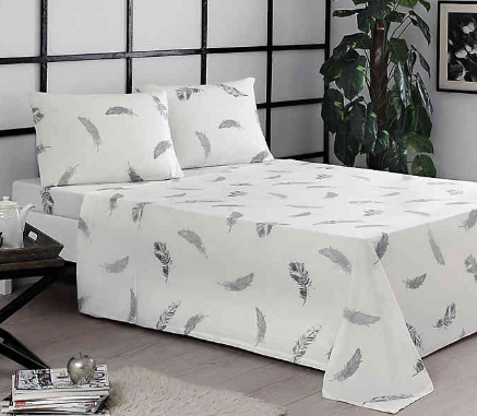 Brielle Feathers Twin/Twin XL Sheet Set in Grey