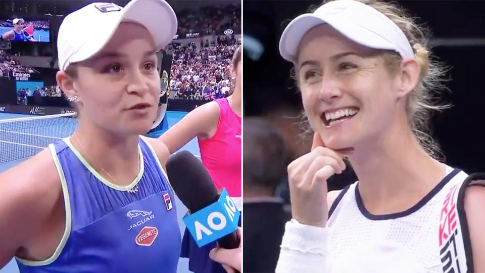 Ash Barty and Jessica Moore, pictured here after their Australian Open clash.