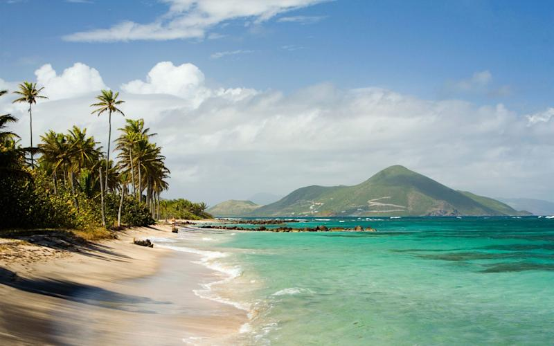 Nisbett Plantation Beach on the Caribbean island of Nevis - This content is subject to copyright.