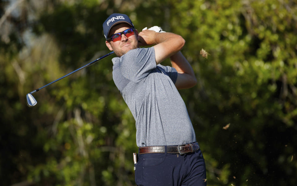 Corey Conners tees off on the fourth hole during the second round of the Valspar Championship golf tournament Friday, March 9, 2018, in Palm Harbor, Fla. (AP Photo/Mike Carlson)