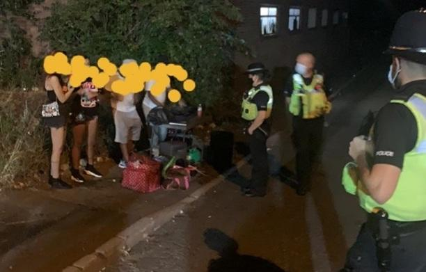 West Midlands Police officers breaking up one of the illegal raves over the weekend. (West Midlands Police)