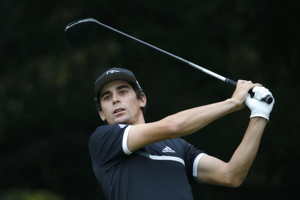 Joaquin Niemann of Chile, hits from the second tee during the final round of the Zozo Championship golf tournament Sunday, Oct. 25, 2020, in Thousand Oaks, Calif. (AP Photo/Ringo H.W. Chiu)