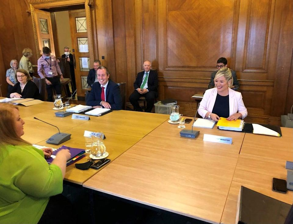 First Minister Paul Givan and deputy First Minister Michelle O'Neill with Justice Minister Naomi Long before the first face to face Stormont Executive meeting in almost a year in Parliament Buildings Stormont. Picture date: Thursday September 23, 2021. (PA Wire)