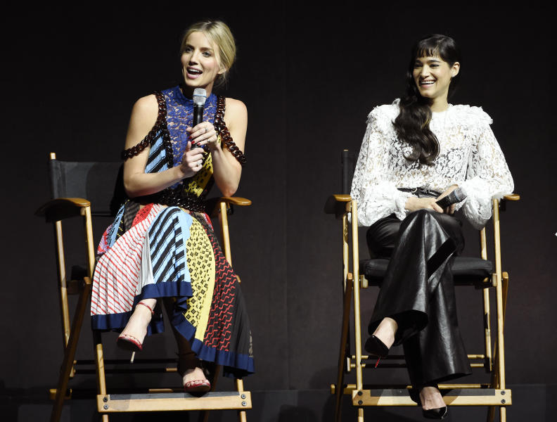 "Annabelle Wallis, left, and Sofia Boutella, cast members in the upcoming film ""The Mummy,"" discuss the film during the Universal Pictures presentation at CinemaCon 2017 at Caesars Palace on Wednesday, March 29, 2017, in Las Vegas. (Photo by Chris Pizzello/Invision/AP)"