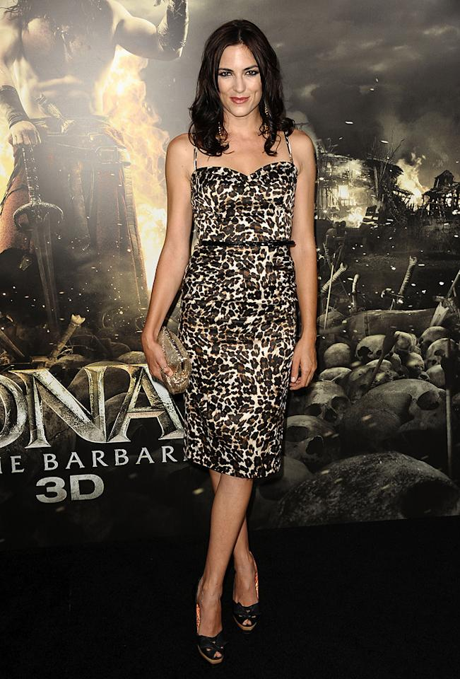"""<a href=""""http://movies.yahoo.com/movie/contributor/1809042774"""">Monique Ganderton</a> at the Los Angeles premiere of <a href=""""http://movies.yahoo.com/movie/1809953260/info"""">Conan the Barbarian</a> on August 11, 2011."""