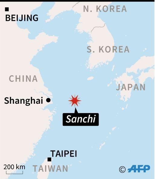 <p>Map showing the approximate spot where the Iranian oil tanker Sanchi sank on Sunday, eight days after a collision with a cargo vessel. (AFP Photo/Dario INGIUSTO) </p>