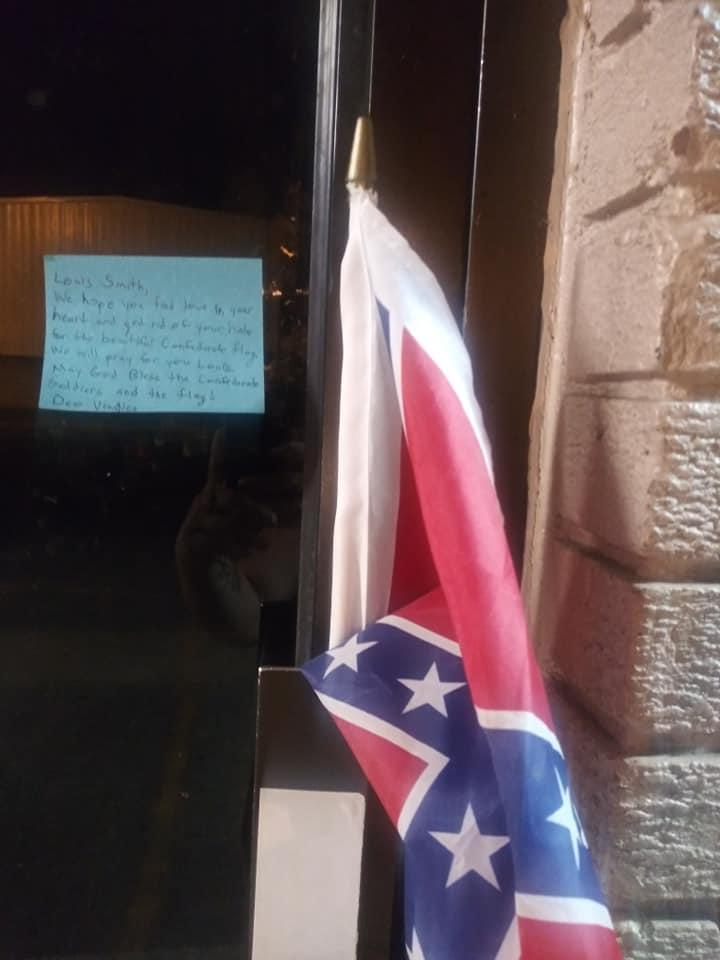 Louis Smith, a longtime local Black activist, found a Confederate and the a note addressed to him on the door of the Summerville Community Resource Center. (Credit: Louis Smith)