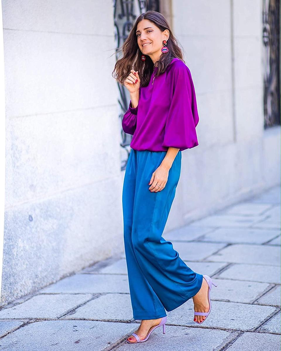 <p><span>The Drop Dark Violet Satin Sweatshirt by @balamoda</span> ($50)</p> <p><span>The Drop Women's Sapphire Blue Wide Leg Pull-On Pant by @balamoda</span> ($50)</p>