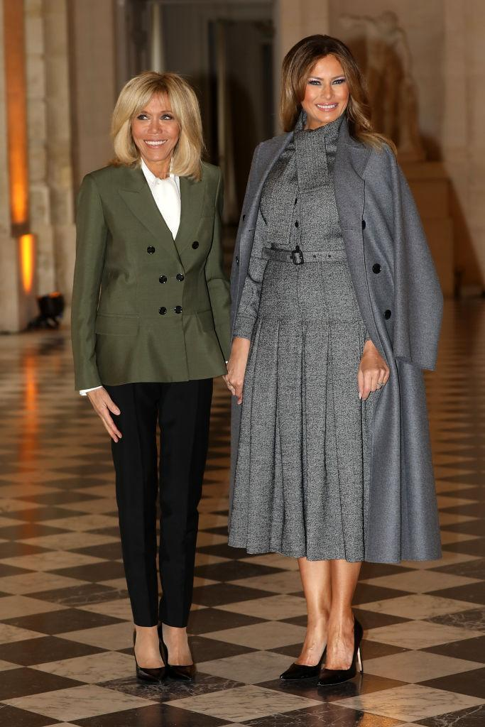 For an event at the Chateau de Versailles on November 11 alongside Brigitte Macron, Melania dressed in a woollen ensemble by Dior. [Photo: Getty]