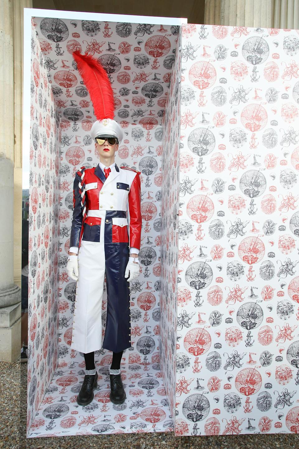 """<div class=""""caption-credit"""">Photo by: Victor Boyko/Getty Images</div>You are now ready, young grasshopper, to lay your eyes on more loony-tunes looks from the Thom Browne menswear show. This toy soldier in a box is actually a grown man in an awkwardly sized one-piece jumpsuit. <br>"""