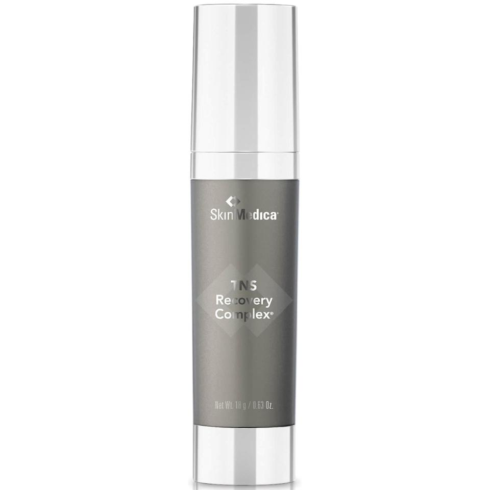 "<p>Dermatologists near and far are fans of SkinMedica's TNS Recovery Complex due to the fact that it contains <a href=""https://www.allure.com/story/growth-factors-in-skin-care-penis-facial?mbid=synd_yahoo_rss"" rel=""nofollow noopener"" target=""_blank"" data-ylk=""slk:growth factors"" class=""link rapid-noclick-resp"">growth factors</a>, which are known to increase collagen production and thicken skin overall, board-certified Sabrina Fabi <a href=""https://www.allure.com/gallery/dermatologist-approved-anti-aging-creams-serums?mbid=synd_yahoo_rss"" rel=""nofollow noopener"" target=""_blank"" data-ylk=""slk:previously told Allure"" class=""link rapid-noclick-resp"">previously told <em>Allure</em></a><em>.</em> </p> <p>Growth factors are large proteins naturally found in your body, but over time, your skin starts producing less of them — so, they're some of the most effective skin-care ingredients and help you maintain that smooth and supple complexion of yours. TNS has a 93.6 percent concentration of growth factors, which means it might smell a little funky, but the results will be totally worth it.</p> <p><strong>$281</strong> (<a href=""https://www.amazon.com/SkinMedica-TNS-Essential-Serum-oz/dp/B001QTLNK0"" rel=""nofollow noopener"" target=""_blank"" data-ylk=""slk:Shop Now"" class=""link rapid-noclick-resp"">Shop Now</a>)</p>"