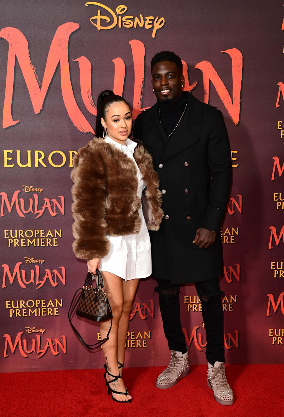 Rebecca Vieira and Marcel Somerville attending the European premiere of Disney's Mulan, held in Leicester Square, London. (Photo by Ian West/PA Images via Getty Images)