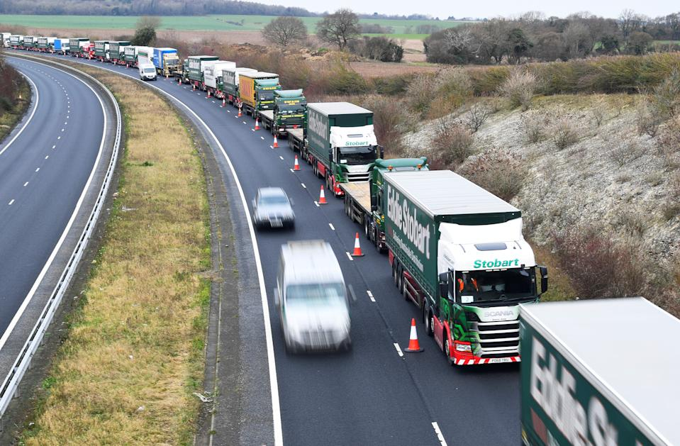 A line of lorries in Kent, Britain. Photo: Toby Melville/Reuters