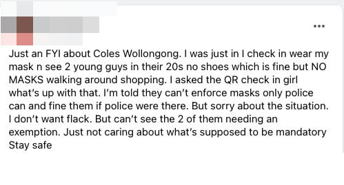 A screenshot of the Facebook post in a private group which sparked the mask exemption debate. Source: Facebook