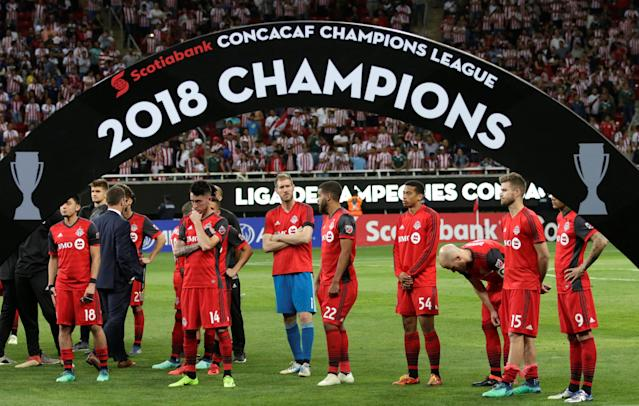 Soccer Football - CONCACAF Champions League Final Second Leg - Guadalajara vs Toronto FC - Estadio Akron, Guadalajara, Mexico - April 25, 2018 Toronto players looks dejected after the match REUTERS/Henry Romero