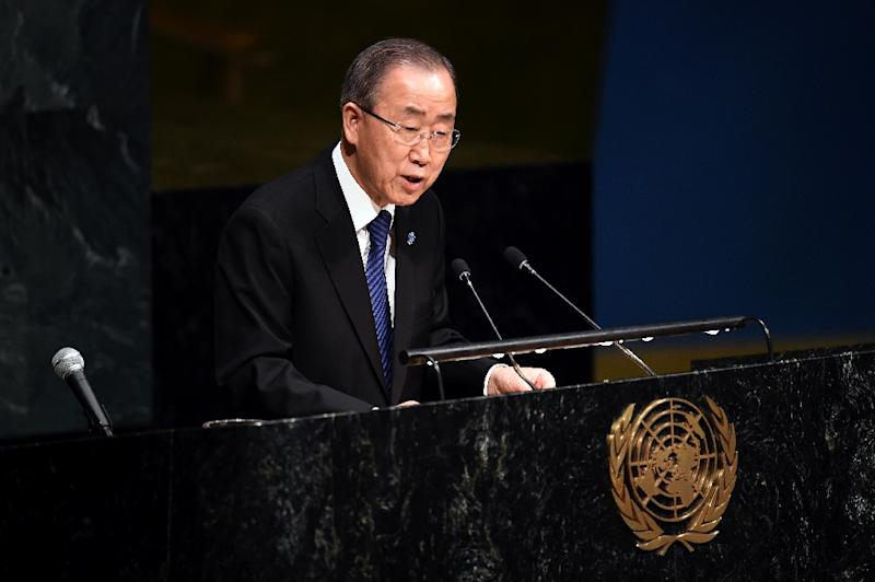United Nations Secretary General Ban Ki-moon speaks during a Holocaust memorial ceremony on the occasion of the International Day of Commemoration in Memory of the Victims of the Holocaust at the UN in New York on January 27, 2016