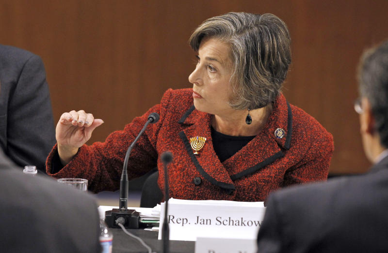 "FILE - In this Dec. 1, 2010, file photo Rep. Jan Schakowsky, D-Ill., speaks during a Debt Commission meeting on Capitol Hill in Washington. In 2013 with a nation still split over President Barack Obama's healthcare overhaul Schakowsky, who has long supported coverage for the uninsured, is predicting vindication for the Affordable Care Act once people see how the program really works. ""It's harder to sell what is a pretty new idea for Americans while it is still in the abstract,"" she said. ""I think as people experience it, they're going to love it, much like Medicare."" (AP Photo/Alex Brandon, File)"