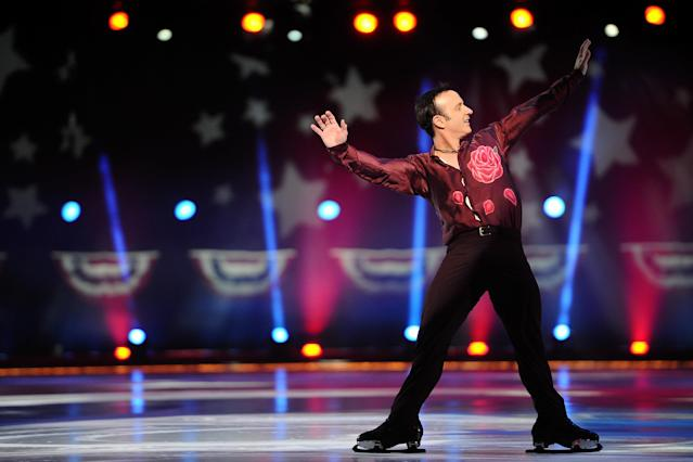 "EAST RUTHERFORD, NJ - DECEMBER 11: Brian Boitano skates during the P&G & Wal-Mart ""Tribute to American Legends of the Ice"" at Izod Center on December 11, 2013 in East Rutherford, New Jersey. (Photo by Maddie Meyer/Getty Images)"