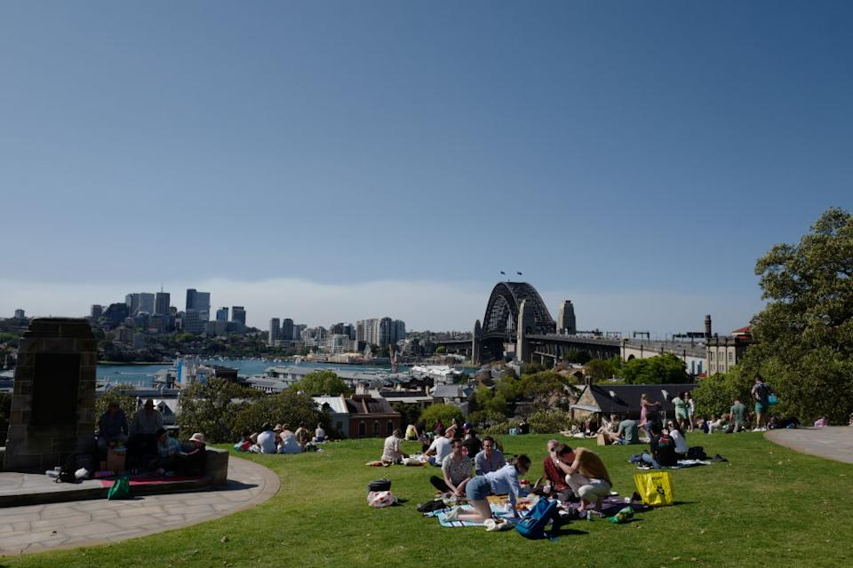While Sydneysiders are still restricted to a five-kilometre travel limit, vaccinated people can meet in groups of five outdoors. Source: Getty