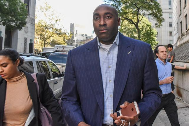 Rashan Michel exits the Federal Courthouse in Manhattan on October 10, 2017 in New York City. (Getty file photo)