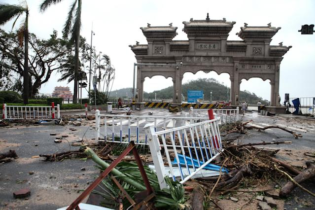 <p>Debris is left on road after typhoon Hato lands in Zhuhai on Aug. 23, 2017 in Zhuhai, Guangdong Province of China. (Photo: VCG/VCG via Getty Images) </p>