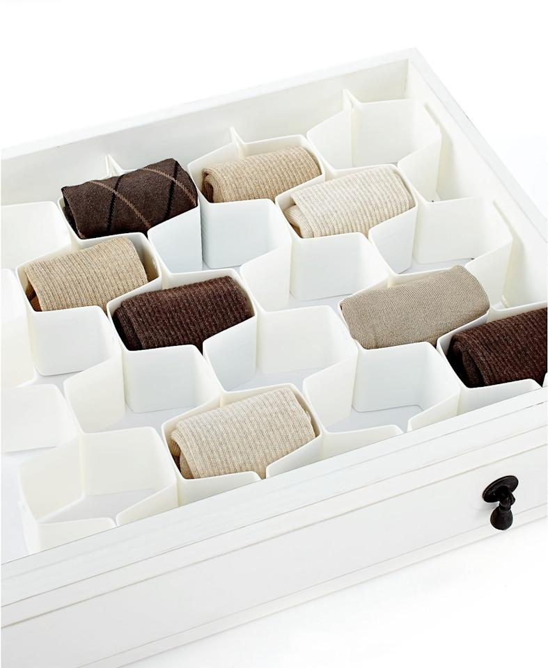 "<p>This <a href=""https://www.popsugar.com/buy/Whitmor-Honeycomb-Drawer-Organizer-491549?p_name=Whitmor%20Honeycomb%20Drawer%20Organizer&retailer=macys.com&pid=491549&price=16&evar1=casa%3Aus&evar9=46628109&evar98=https%3A%2F%2Fwww.popsugar.com%2Fphoto-gallery%2F46628109%2Fimage%2F46628634%2FWhitmor-Honeycomb-Drawer-Organizer&list1=shopping%2Corganizing%2Corganization%2Cmacys%2Chome%20shopping&prop13=api&pdata=1"" rel=""nofollow"" data-shoppable-link=""1"" target=""_blank"" class=""ga-track"" data-ga-category=""Related"" data-ga-label=""https://www.macys.com/shop/product/whitmor-honeycomb-drawer-organizer?ID=1135221&amp;CategoryID=206384#fn=sp%3D3%26spc%3D4429%26ruleId%3D78%7CBOOST%20ATTRIBUTE%7CBOOST%20SAVED%20SET%26searchPass%3DmatchNone%26slotId%3D36"" data-ga-action=""In-Line Links"">Whitmor Honeycomb Drawer Organizer</a> ($16, originally $20) is great for socks and underwear. </p>"