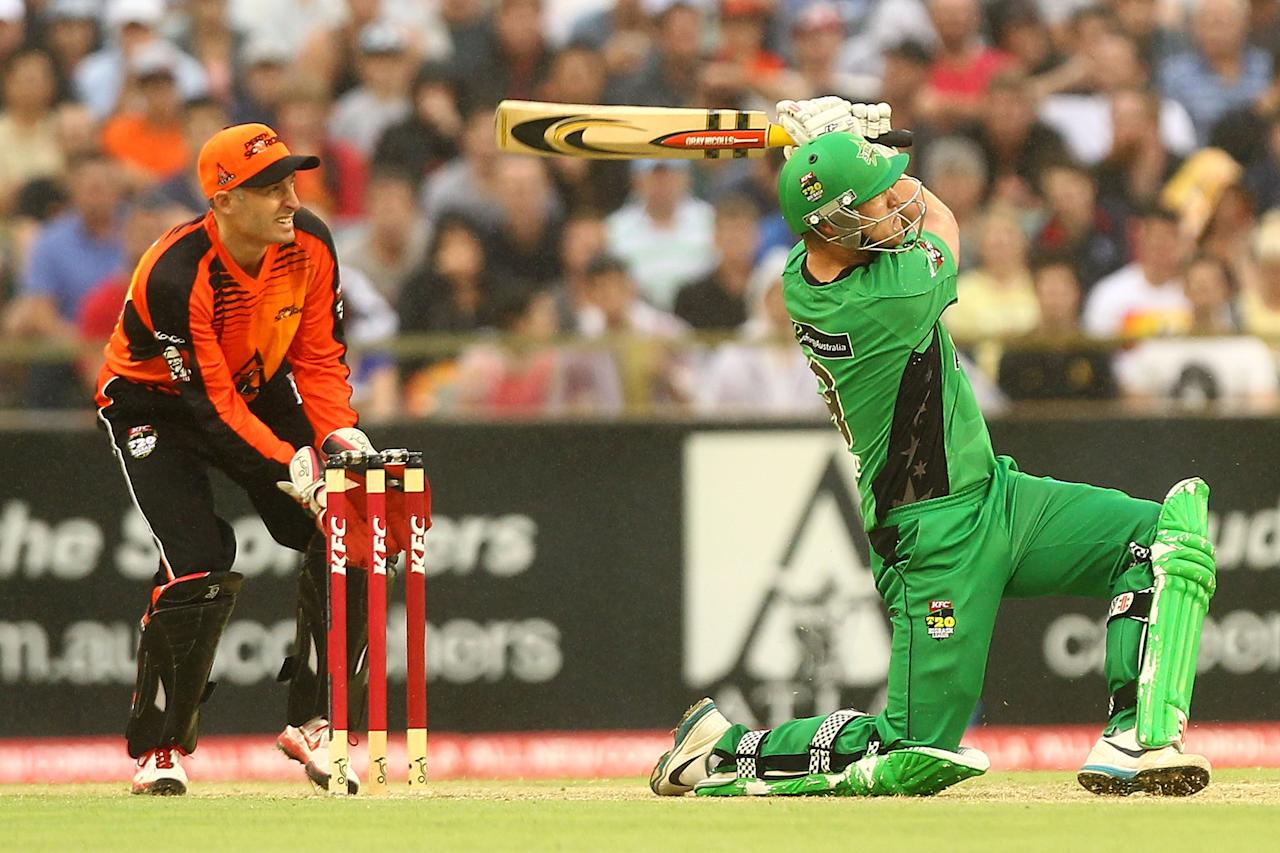 PERTH, AUSTRALIA - JANUARY 16: Cameron White of the Stars hits a boundary during the Big Bash League semi-final match between the Perth Scorchers and the Melbourne Stars at the WACA on January 16, 2013 in Perth, Australia.  (Photo by Will Russell/Getty Images)
