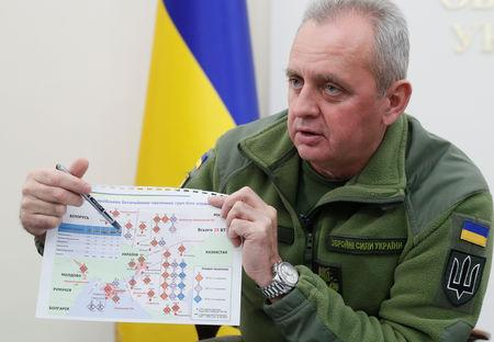Chief of the General Staff of Ukraine's Armed Forces Viktor Muzhenko shows documents during an interview with Reuters in Kiev Ukraine