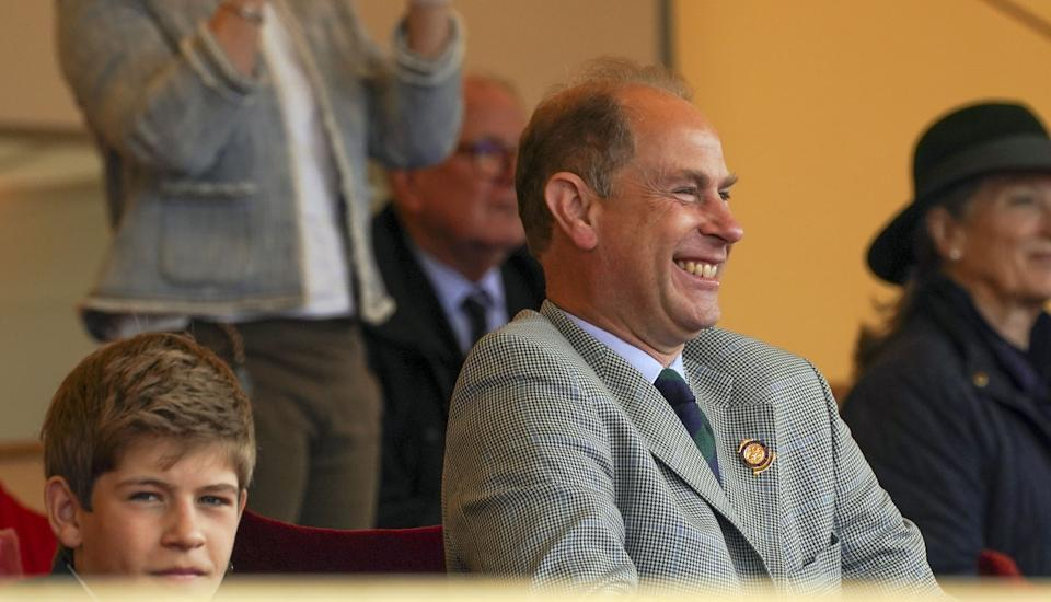 The Earl of Wessex and his son, James, Viscount Severn, watch Lady Louise Windsor participate in the Champagne Laurent-Perrier Meet of the British Driving Society at the Royal Windsor Horse Show, Windsor. Picture date: Sunday July 4, 2021. (Photo by Steve Parsons/PA Images via Getty Images)