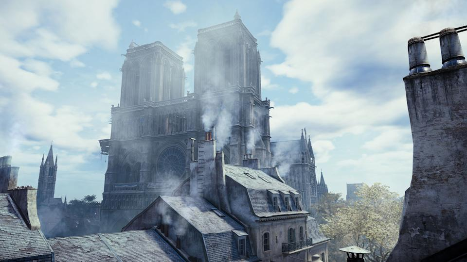 Undated handout screenshot issued by Ubisoft of Notre Dame Cathedral in Paris, as it appears in their game Assassin's Creed Unity.