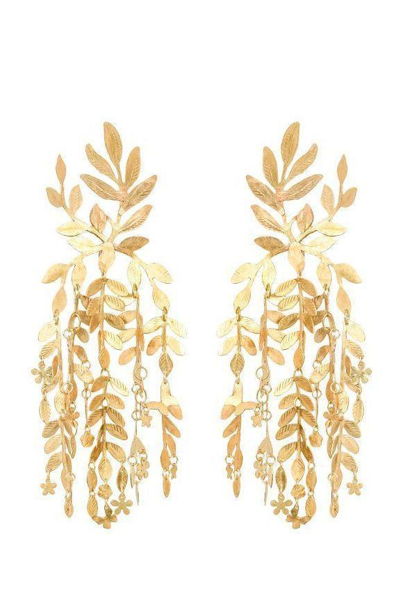 """<p><strong>We Dream in Colour</strong></p><p>wedreamincolour.com</p><p><strong>$375.00</strong></p><p><a href=""""https://wedreamincolour.com/willow-earrings.html"""" rel=""""nofollow noopener"""" target=""""_blank"""" data-ylk=""""slk:SHOP IT"""" class=""""link rapid-noclick-resp"""">SHOP IT</a></p><p>For an ethereal take on this trend, try this gold leaf style that's inspired by butterflies and cascading foliage. </p>"""