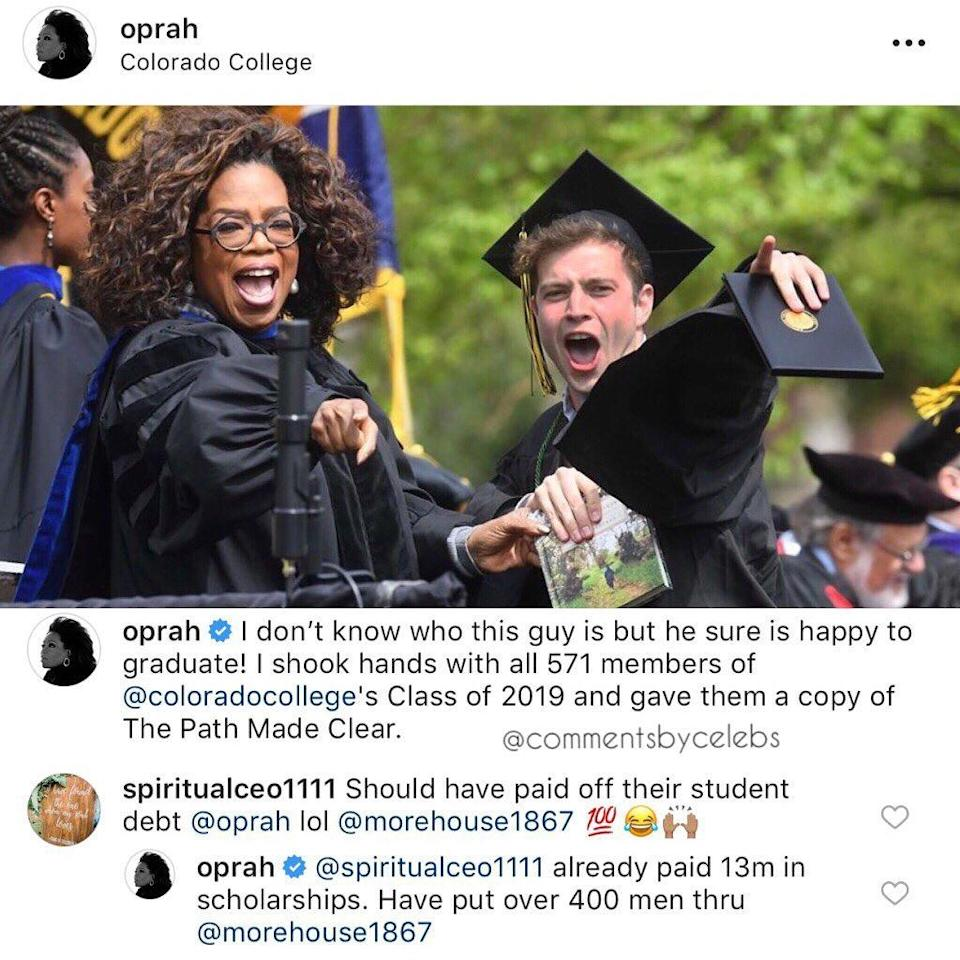 """<p>Oprah was all about education over the weekend, because after speaking at the University of Colorado, she dropped some knowledge about her humanitarian efforts to a critic who tried to call out the queen. O spoke at Colorado's commencement ceremony and announced, """"I shook hands with all 571 members of @coloradocollege's Class of 2019 and […]</p> <p>The post <a rel=""""nofollow noopener"""" href=""""https://theblast.com/oprah-response-student-loans-morehouse-graduation/"""" target=""""_blank"""" data-ylk=""""slk:Oprah Claps Back After She's Called Out Over Comparison to Billionaire Paying Off Loans"""" class=""""link rapid-noclick-resp"""">Oprah Claps Back After She's Called Out Over Comparison to Billionaire Paying Off Loans</a> appeared first on <a rel=""""nofollow noopener"""" href=""""https://theblast.com"""" target=""""_blank"""" data-ylk=""""slk:The Blast"""" class=""""link rapid-noclick-resp"""">The Blast</a>.</p>"""