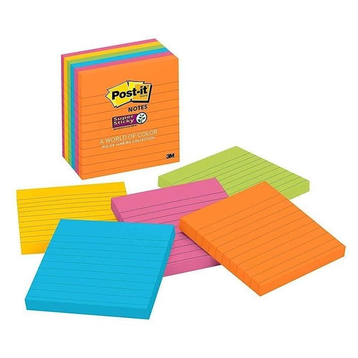 """<p><strong>Post-it</strong></p><p>amazon.com</p><p><strong>$8.99</strong></p><p><a href=""""https://www.amazon.com/dp/B000YD1XNG?tag=syn-yahoo-20&ascsubtag=%5Bartid%7C2089.g.1804%5Bsrc%7Cyahoo-us"""" rel=""""nofollow noopener"""" target=""""_blank"""" data-ylk=""""slk:Shop Now"""" class=""""link rapid-noclick-resp"""">Shop Now</a></p><p>You can never go wrong with old-school sticky notes. Jot down your to-do list, or use them as makeshift bookmarks. This pack of six pads is sure to last them through the semester.</p>"""