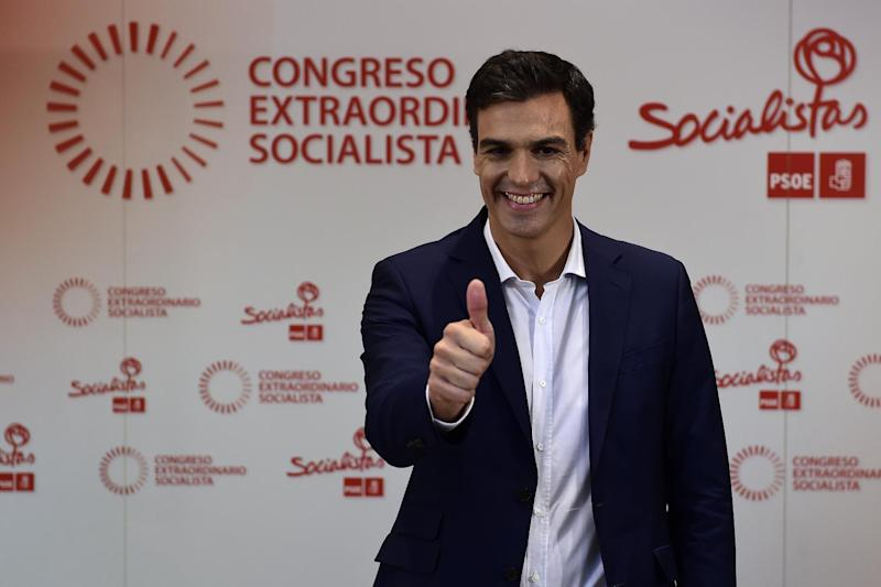 Madrid Deputy Pedro Sanchez, one of the candidates to become the new Secretary General of the Spanish Socialist Party (PSOE), poses before a debate in Madrid on July 7, 2014