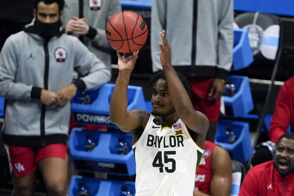 Baylor guard Davion Mitchell shoots during the first half of a men's Final Four NCAA college basketball tournament semifinal game against Houston, Saturday, April 3, 2021, at Lucas Oil Stadium in Indianapolis. (AP Photo/Darron Cummings)