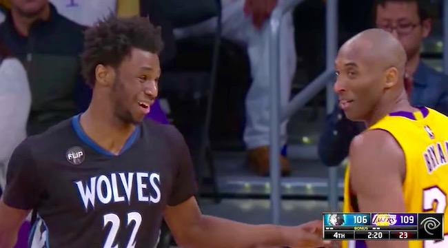 best website 39160 ea556 Andrew Wiggins Drains A Fadeaway Over Kobe Bryant And Tells Mamba  I Got It  From You