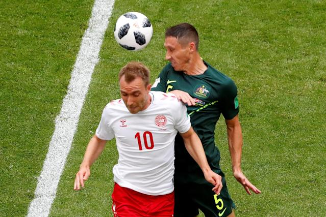 Soccer Football - World Cup - Group C - Denmark vs Australia - Samara Arena, Samara, Russia - June 21, 2018 Denmark's Christian Eriksen in action with Australia's Mark Milligan REUTERS/David Gray