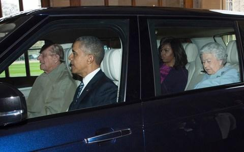 The Duke of Edinburgh drives the Queen and Barack and Michelle Obama during their visit to Windsor - Credit: Geoff Pugh