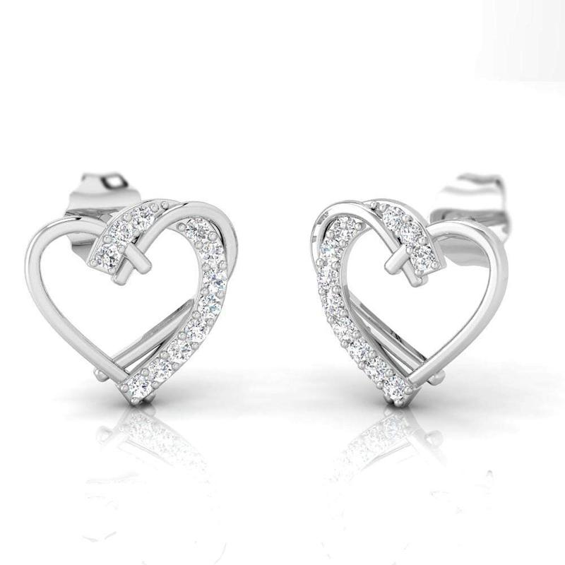 Pristine Fire 1/6 Carat Natural Diamond Sterling Silver Heart Studs (Photo: Amazon)