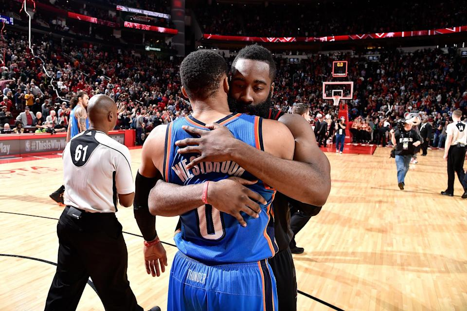 Top MVP candidates and former teammates Russell Westbrook and James Harden promise to deliver fireworks in the first round. (Getty Images)
