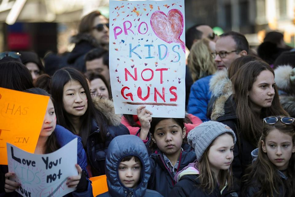 <p>Young protesters attend March for Our Lives in New York City. (Photo: Getty Images) </p>