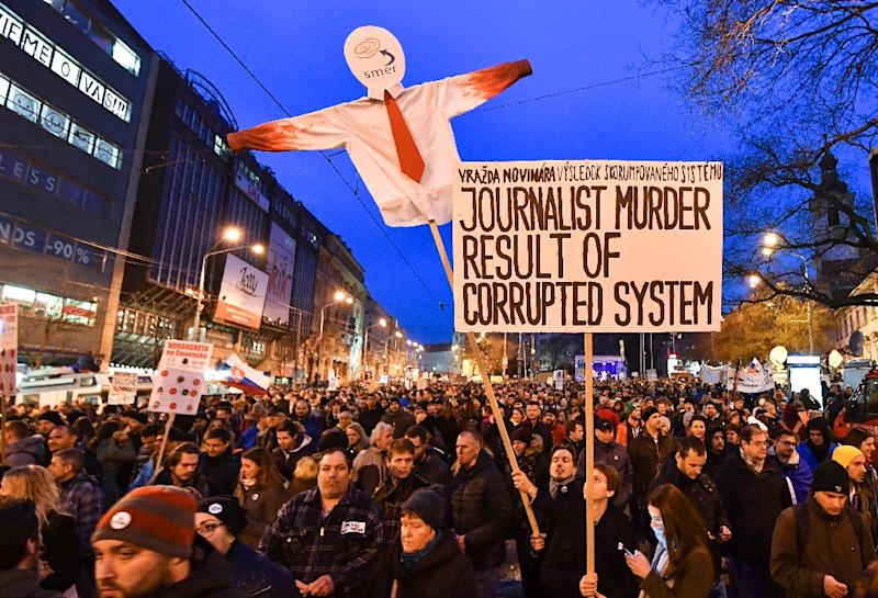 Following the journalist's murder, some 40,000 people gathered in Bratislava to protest against the government in Slovakia's biggest demonstration in nearly two decades (AFP Photo/JOE KLAMAR)