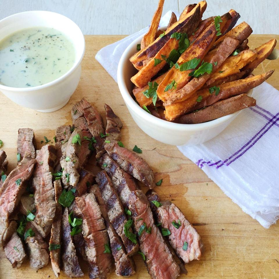 """<p>You'll want to slather this creamy blue cheese sauce on EVERYTHING.</p><p>Get the recipe from <a href=""""https://www.delish.com/cooking/recipe-ideas/recipes/a44969/steaks-creamy-blue-cheese-sauce-sweet-potato-fries-recipe/"""" rel=""""nofollow noopener"""" target=""""_blank"""" data-ylk=""""slk:Delish"""" class=""""link rapid-noclick-resp"""">Delish</a>.</p>"""