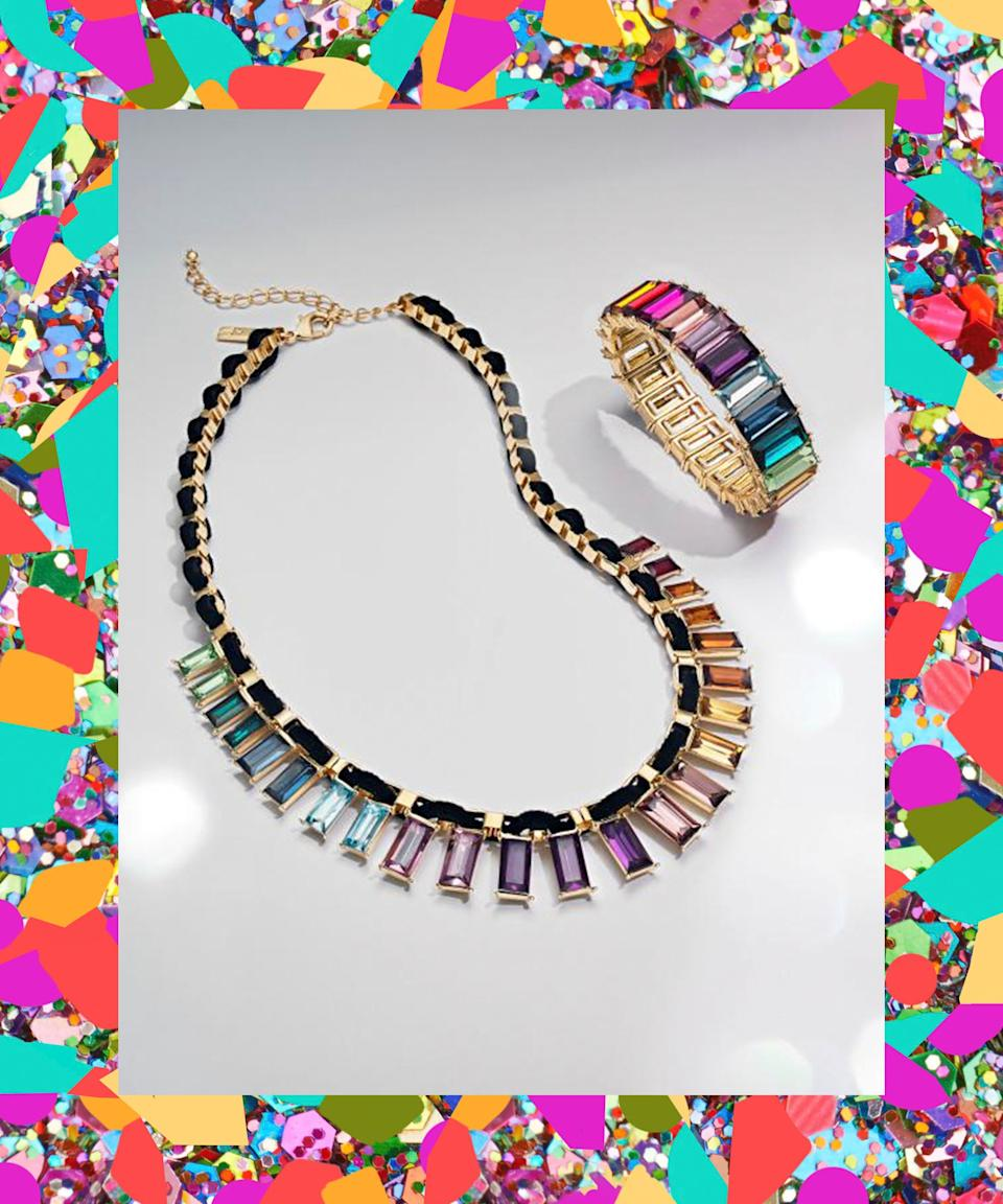 "Similarly, throw these on for an instant boost of multicolored sparkle. <br> <br> <strong>INC International Concepts</strong> Gold-Tone Multicolor Crystal Velvet-Woven Statement Nec, $, available at <a href=""https://www.macys.com/shop/product/i.n.c.-gold-tone-multicolor-crystal-velvet-woven-statement-necklace-18-3-extender-created-for-macys?ID=9692003"" rel=""nofollow noopener"" target=""_blank"" data-ylk=""slk:Macy's"" class=""link rapid-noclick-resp"">Macy's</a> <br> <br> <strong>INC International Concepts</strong> Gold-Tone Multicolor Baguette-Stone Stretch Bracelet, $, available at <a href=""https://www.macys.com/shop/product/inc-gold-tone-multicolor-baguette-stone-stretch-bracelet-created-for-macys?ID=9692008"" rel=""nofollow noopener"" target=""_blank"" data-ylk=""slk:Macy's"" class=""link rapid-noclick-resp"">Macy's</a>"