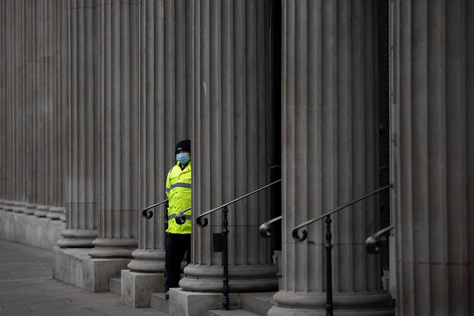 <p>Male security guards were among the groups suffering the highest number of Covid deaths last year</p> (Getty Images)